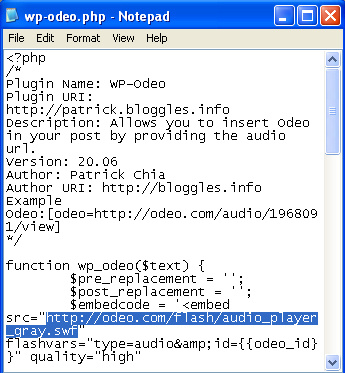 wp-odeo code
